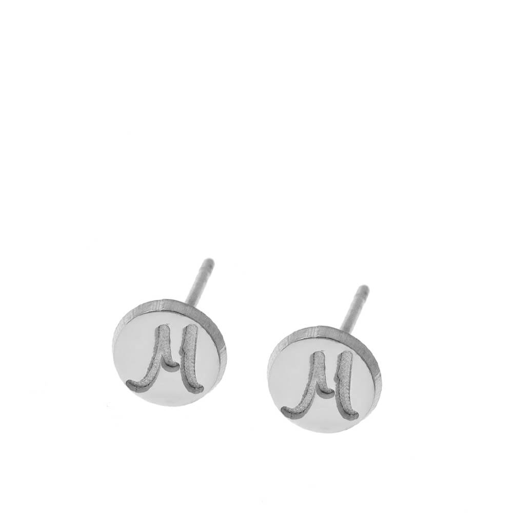 Plättchen Stud Ohrringe With Initials silver