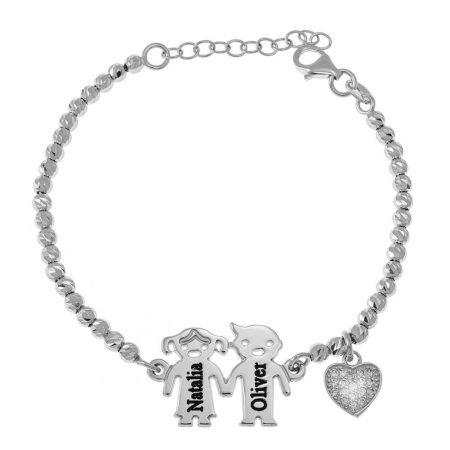 Graviertes Kinder-Perlenarmband mit Inlay Herz