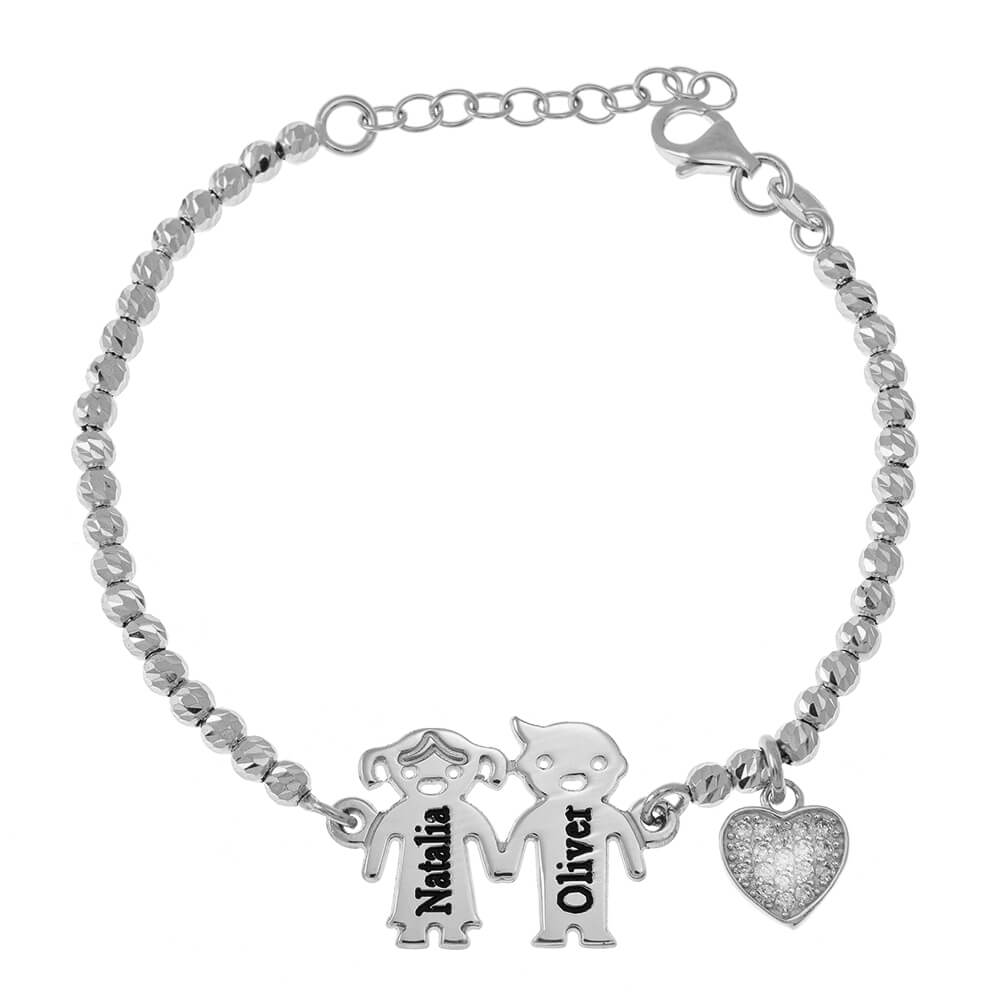 Engraved Children Bead Armband With Inlay Herz silver