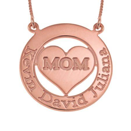 Gravierte kreisförmige Mutter-Halskette mit Herz