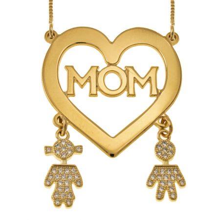 Mutter-Herzkette mit Inlay Kinder