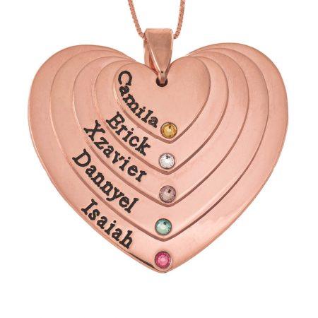 Fünf Schattierungen gravierte Herzen Mutter Halskette mit Geburtssteinen