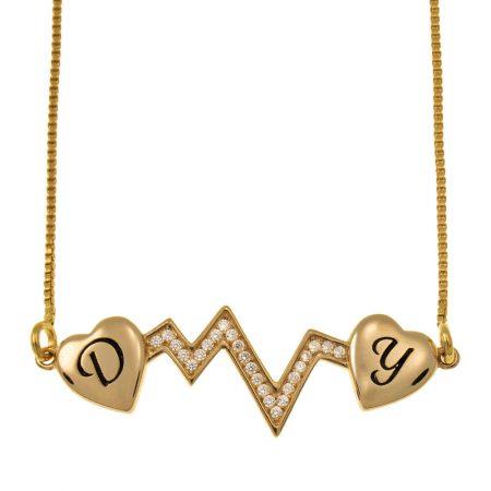 Herzschlag Zwei Initialen Halskette