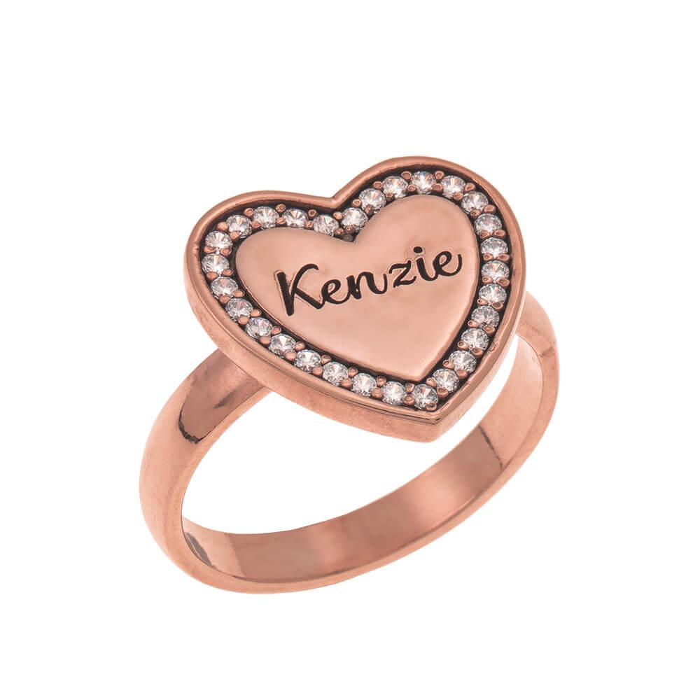 Inlay Herz Signet Ring rose gold