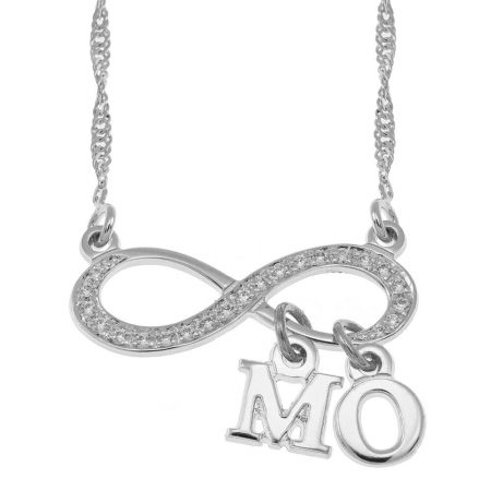 Infinitye Halskette mit Inlay mit baumelnden Initialen