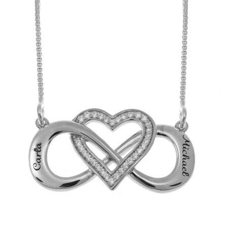 Verschlungenes Inlay Herz und Infinity Halskette