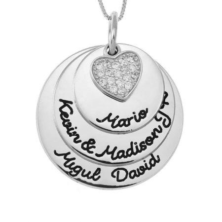 Mutterkreis-Halskette mit Inlay Herz