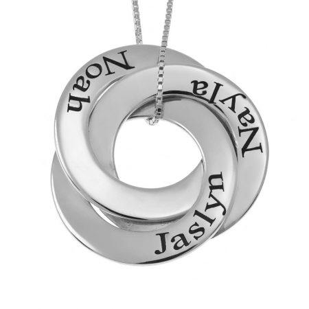 Russische Ring-Mutter Halskette mit 3 Ringen