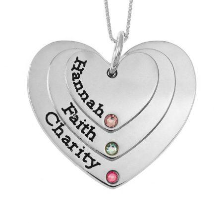 Drei Schattierungen gravierte Herzen Mutter Halskette mit Geburtssteinen