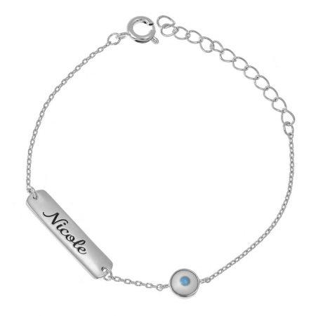 Damen-Namensschild-Armband mit bösem Auge