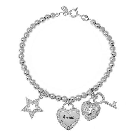 Perlennamen-Armband mit Charms