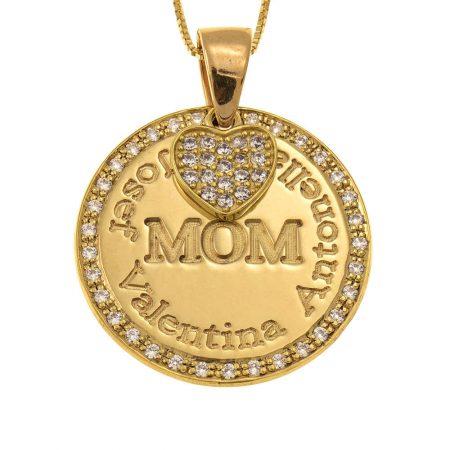 Kreis-Mutter Halskette mit Inlay Herz