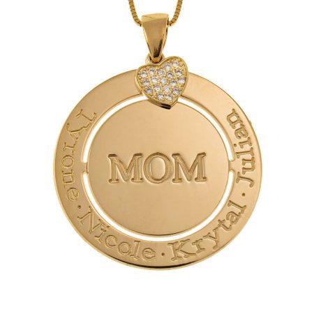 Gravierte kreisförmige Mutter-Halskette mit Inlay Herz