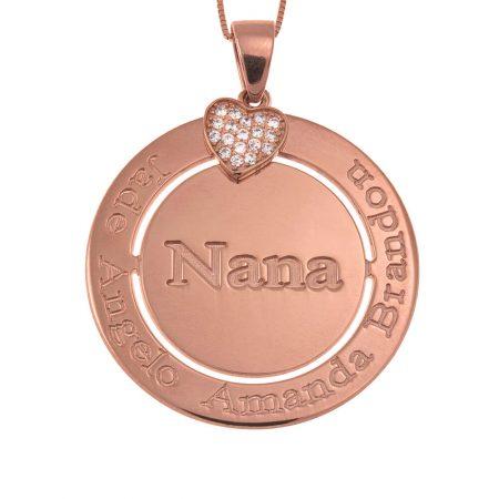 Gravierte Kreis Nana-Halskette mit Inlay Herz