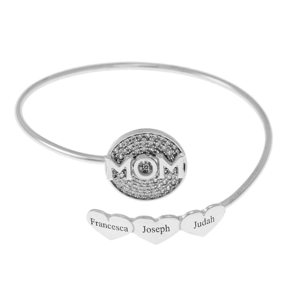 Inlay Mom Flex Armband With Herzen silver