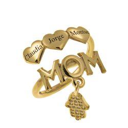 MOM Namen Ring With Herzen gold