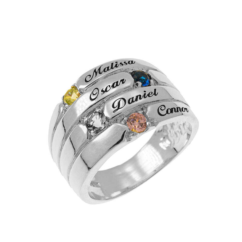 4 Steine Mother Ring silver