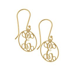 Circle Dangle Monogrammed Ohrringe gold