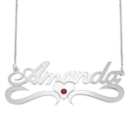 Mitte Herz Klassisches Namensschachtel-Halskette mit Geburtsstein