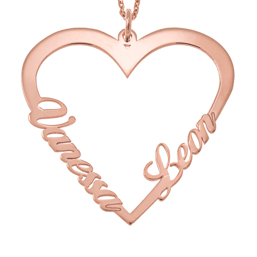 Couple Herz Name Halskette rose gold