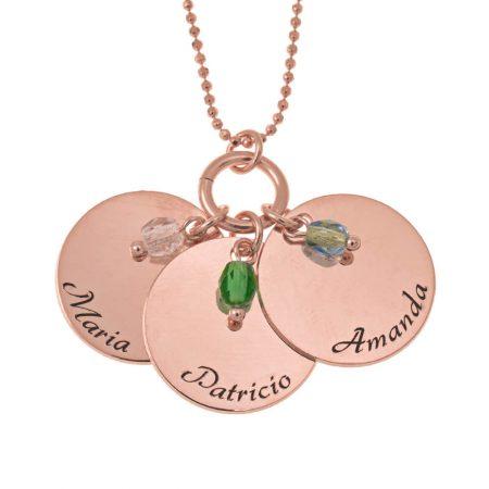 Elegante drei Plättchen mit Charms-Halskette aus Geburtsstein