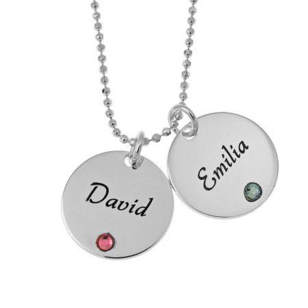 Elegante zwei Plättchen mit Halskette aus Geburtssteinen