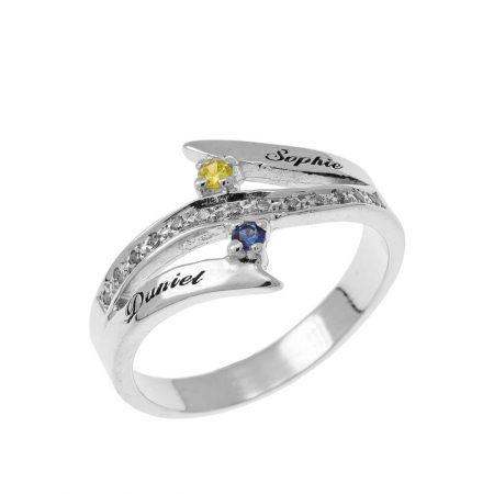 Gravierter Inlay Ring aus zwei Geburtssteinen