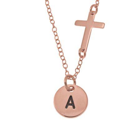 Initialen Plättchen- und Kreuz-Halskette