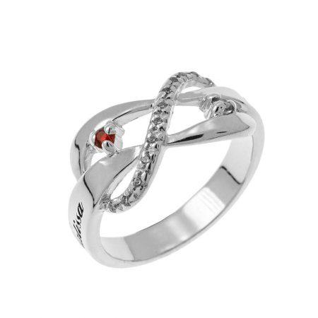 Inlay Infinity Ring mit Geburtssteinen