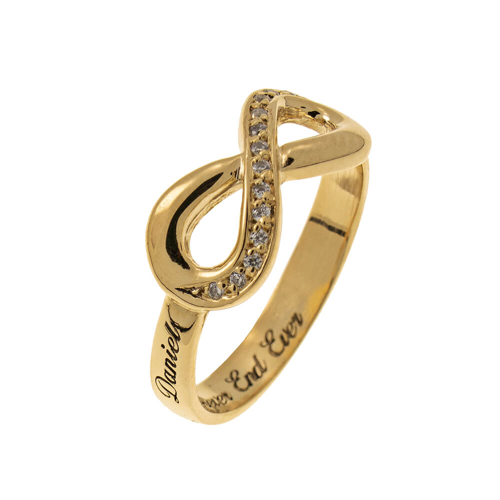 Inlay Infinity Ring with Gravur gold 2