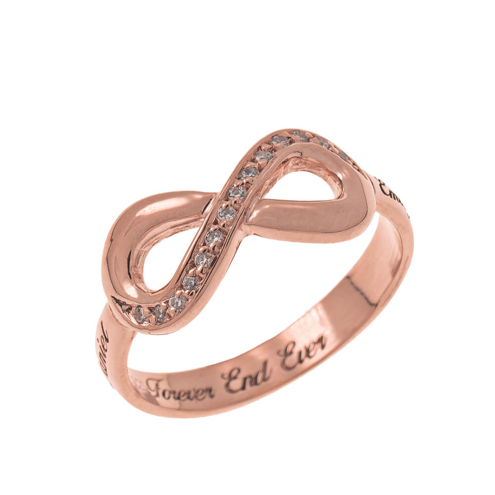 Inlay Infinity Ring with Gravur rose gold