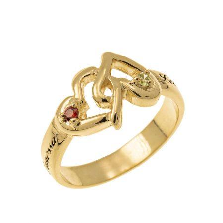Ineinandergreifender Ring aus Geburtssteinen Herzen