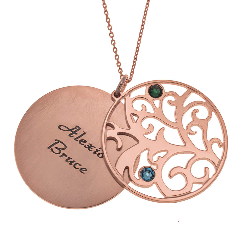 Personalized Double Layer Family Tree Halskette 2 names rose gold