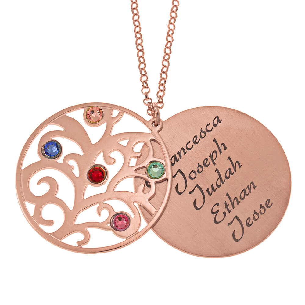 Personalized Double Layer Family Tree Halskette rose gold 1
