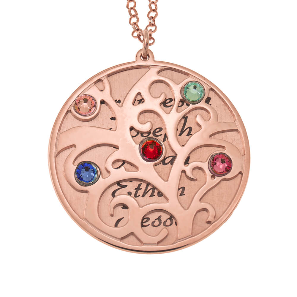 Personalized Double Layer Family Tree Halskette rose gold