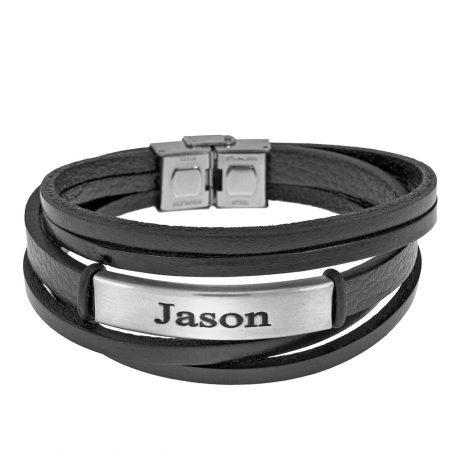 Schwarzes Lederschichten-Armband mit Gravur