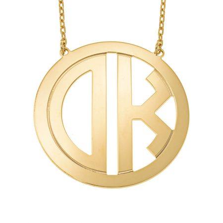 Halskette mit Kreisblock-Monogramm