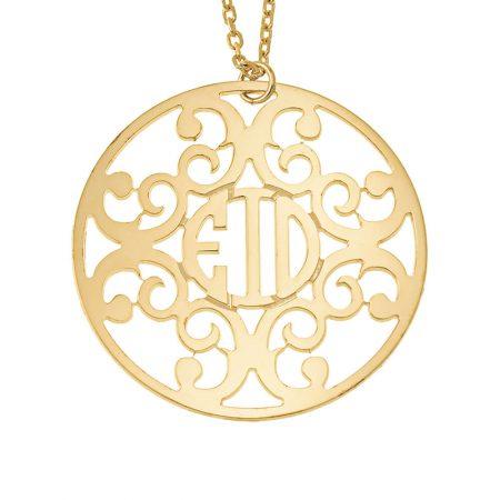 Mit einem Kreis verziertes Monogramm-Halskette