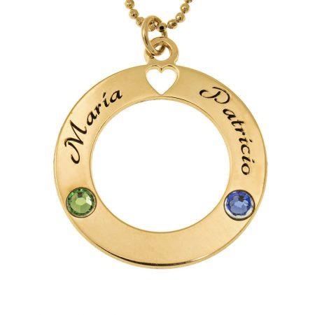 Liebeskreis-Halskette mit Geburtssteinen