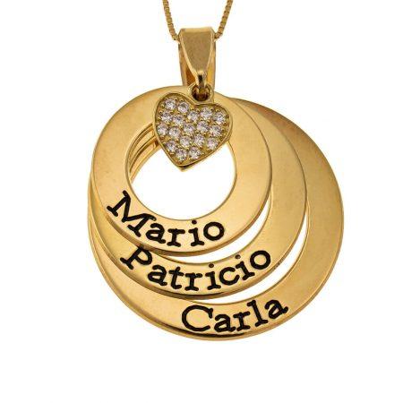 Plättchen Namen-Halskette mit Inlay Herz