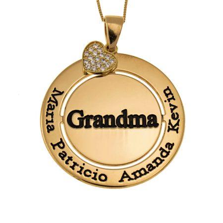 Kreisförmige Oma-Halskette mit funkelndem Inlay Herz