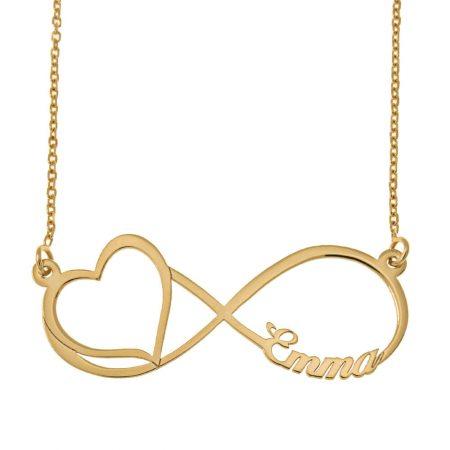 Gravierte Infinity Namen Halskette und ausgeschnittenem Herz