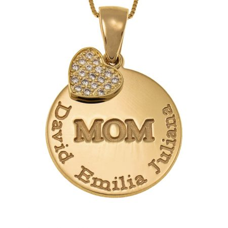Gravierte Mutter-Plättchenkette mit Inlay Herz