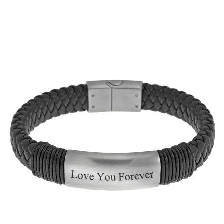 Graviertes Namensarmband aus schwarzem Leder für Männer