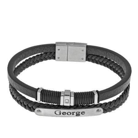 Armband mit schwarzen Ledereinlagen