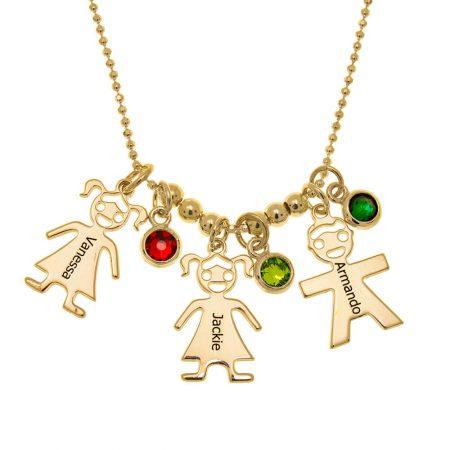 Halskette der Mutter mit Kindern Charms und Geburtssteine