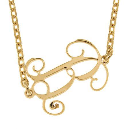 Halskette mit seitlichem Initialen-Monogramm