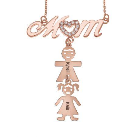 Swarovski Inlay Mom Halskette mit Kindern