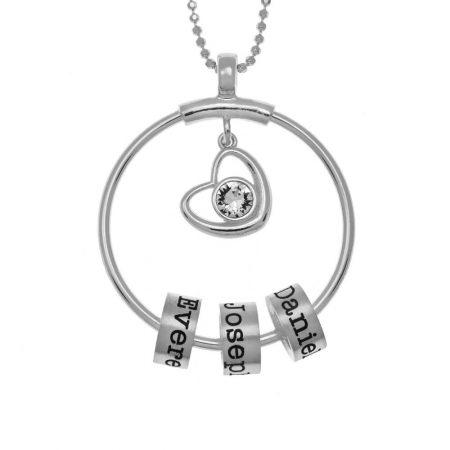 Kreis Halskette mit Namensperlen und Herz Chams