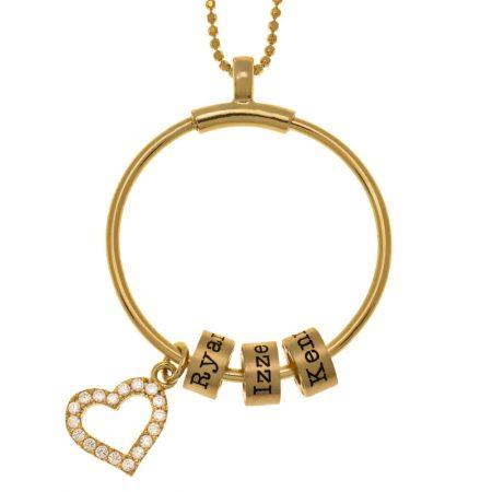 Kreis Halskette mit Namensperlen und Inlay Herz